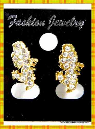 BOUCLES D'OREILLES PLAQUEES OR STRASS MARTINIQUE