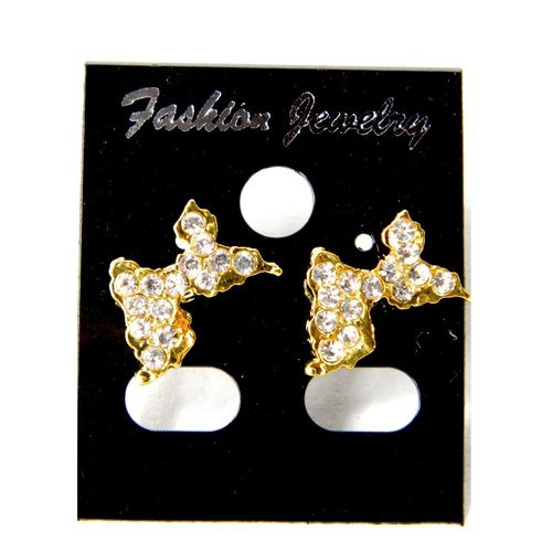 BOUCLES D'OREILLES OR STRASS GUADELOUPE