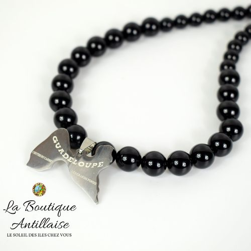 COLLIER ONYX CARTE GUADELOUPE